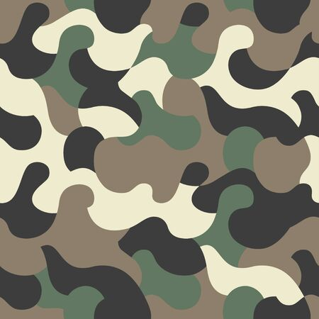 Green camouflage pattern background. Seamless khaki green camouflage. Camo texture. Vector