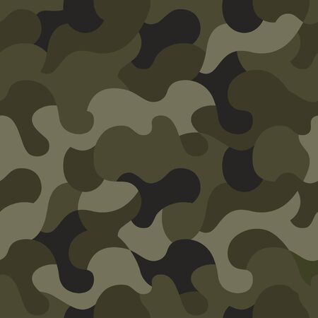 Vector camouflage seamless pattern. Khaki design style for t-shirt. Military texture, camo clothing while hunting illustration. 일러스트
