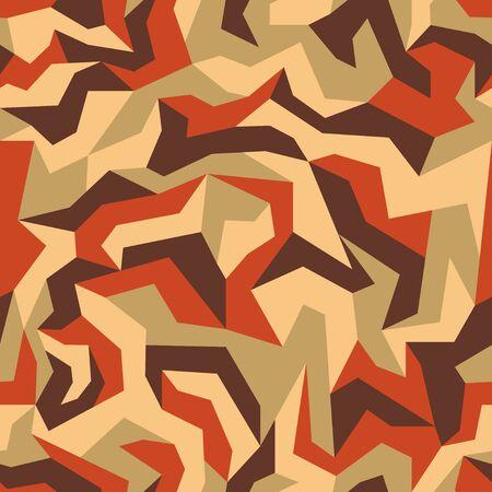 Geometric camouflage, seamless texture. Urban uniform. Orange modern camo pattern, repeat print for fabric. Vector background 일러스트