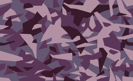 Fashion camouflage seamless background. Trendy geometric camo pattern in purple and burgundy. Clothing female style, repeat print. Design element for fabric or wallpaper. Vector