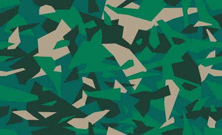 Emerald green geometric camouflage pattern, seamless camo texture. Military or hunting masking uniform. Woodland style. Vector disguise background