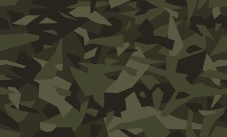 Geometric camo seamless pattern. Military or hunting camouflage background. Dark green color. Stock vector.