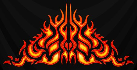 Blazing fire decals for the hood of the car. Hot Rod Racing Flames. Vinyl ready tribal flames. Vehicle and motorbike stickers, with burning effect. Vector. Stock fotó - 129687663