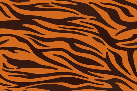 Tiger stripes pattern, animal skin, line background. Vector seamles texture
