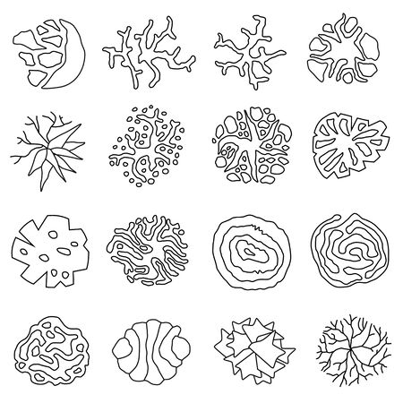 Set of trees outline icon in top view for landscape design. View from above. For architectural plans and technical drawings. Vector graphic.