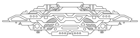 Futuristic outer space battle starship. UFO (unidentified flying object) aliens. Detailed vector illustration Illustration
