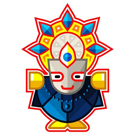 Shri Balabhadra - Lord of the Universe, Indian God. Ratha Yatra hindu festival in Puri. Colorful vector icon.
