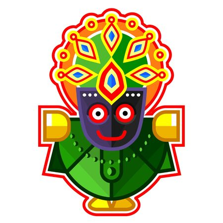 Lord Jagannath - Lord of the Universe, Indian God. Ratha Yatra hindu festival in Puri. Colorful vector icon.