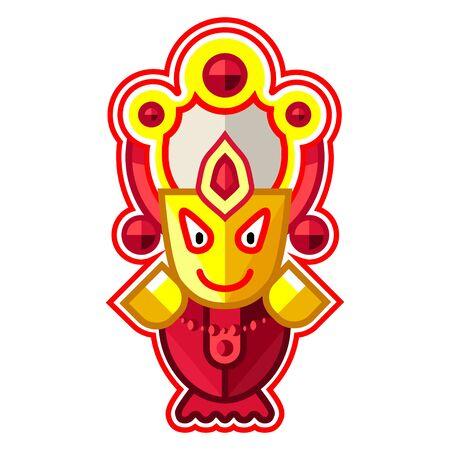 Shri Subhadra - Goddess of the Universe, Indian God. Ratha Yatra hindu festival in Puri. Colorful vector icon.