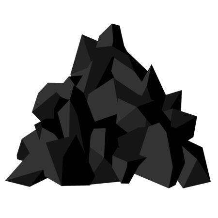 Tas de charbon. Morceaux de pierre fossile, couleur noire. Image vectorielle isolée sur fond blanc Vecteurs