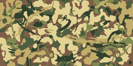 Abstract grunge camouflage, seamless pattern. Military camo texture with paint strokes and splashes elements, army or hunting green clothes. Wallpaper for textile and fabric. Fashion style. Vector