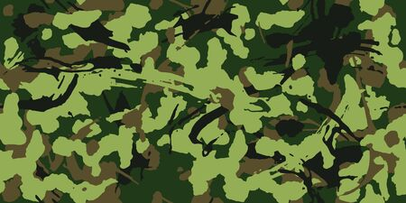 Camouflage with strokes and splashes brush shape, seamless texture, Camo pattern. Army or hunting green uniform. Military Wallpaper for textile and fabric. Grunge style. Vector Stock Illustratie
