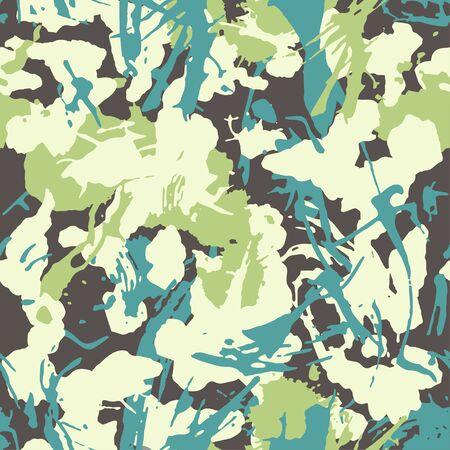 Grunge camouflage seamless pattern. Urban fashion clothing style. Masking camo, repeat print texture with strokes and splashes shape. Vector