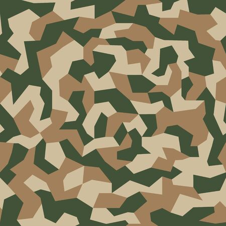 Camouflage texture. Geometric camo, seamless pattern. Abstract military or hunting camouflage background. Brown, green, black color. Vector illustration. Stock Illustratie