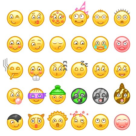 Emoticons icon set for web. Happy, sad, angry, in love faces of emoticon. Smiley face simple set with facial expressions isolated in white background. Vector illustration.