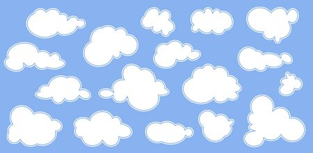 Clouds icon, vector illustration. Cloud symbol, different clouds set