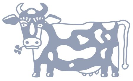 Cute cow caricature with flower side view. Cartoon style, monochrome simple sketch. Vector