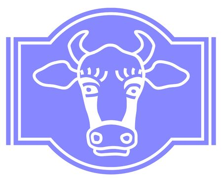 Vector icon of a cow head. Vector cow for label, fermented milk product. Farm animals.