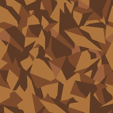 Stone soil texture in brown colors in top view, seamless background. Pattern for the fill of architectural and landscape plans. Earth surface terrain. Vector illustration