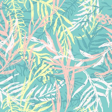 Ink camouflage wallpaper, seamless pattern with leafs and twigs. Tropical nature, plants ferns in bright pastel colors for summer fashion. Floral print, texture and background. Vector grunge textile. Stock Illustratie