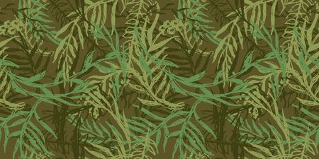 Hand drawn camo with leaf, seamless pattern. Grunge branches and herbs green camouflage background. Distressed texture wallpaper. Fabric design. Ink vector