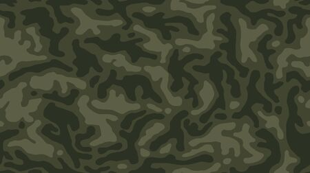 Camouflage pattern background seamless vector illustration. Classic clothing style masking camo repeat print. Dark green colors forest texture.