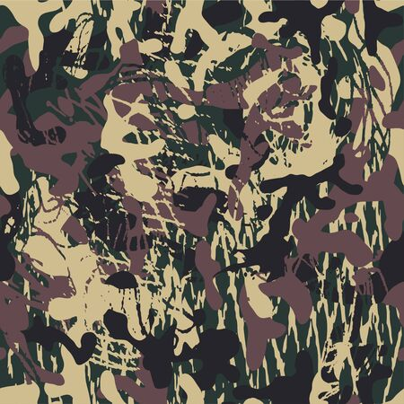 Grunge camouflage, modern fashion design. Camo military pattern. Army uniform. fashionable, fabric. Vector seamless texture.