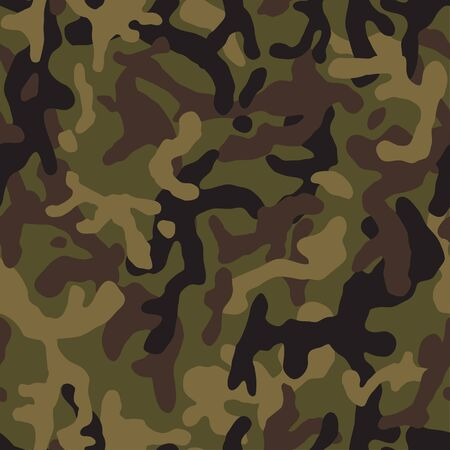 Green camouflage seamless pattern. Vector camo military backgound. Fabric textile print tamplate. Stock Illustratie