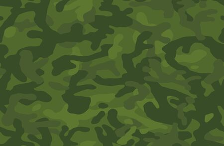 Camouflage pattern background seamless vector illustration. Classic clothing style masking camo repeat print. Green colors forest texture. Stock Illustratie