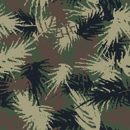 Camouflage needles plants, seamless pattern. Grunge branches and herbs green hand drawn camo background. Distressed texture wallpaper. Fabric design. Ink vector