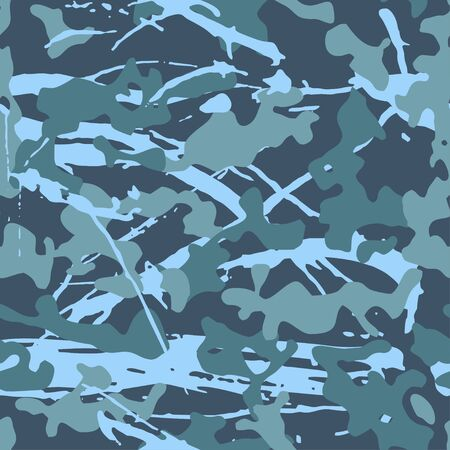 Ink camouflage, modern fashion design. Grunge camo military uniform. Blue sea shade color, fashionable, fabric. Vector seamless texture.