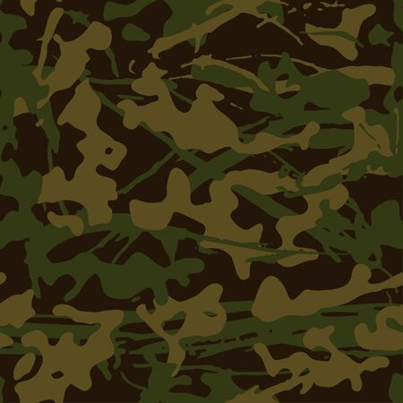 Abstract grunge camouflage, seamless texture, military camouflage pattern, Army or hunting green camo clothes. Camo wallpaper for textile and fabric. Fashion camo style. Vector