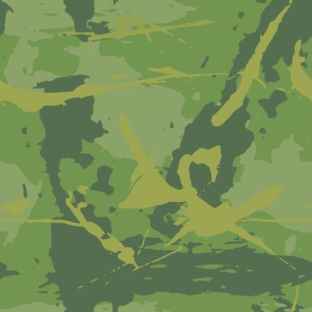 Camouflage grunge texture. Seamless abstract background of paint strokes dark green, khaki. Fabric print or wallpaper. Vector