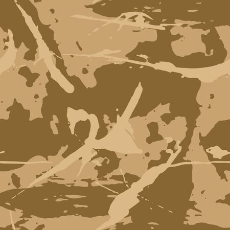 Brown camouflage seamless grunge pattern. Modern military camo texture, fashionable fabric. Desert masking color. Stock vector illustration.