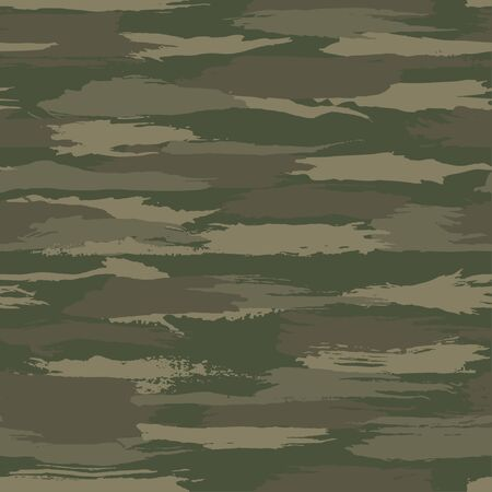 Grunge dark green camouflage, modern fashion design. Camo made brush strokes hand draws pattern. Fashionable Wallpaper or fabric print. Vector seamless texture.