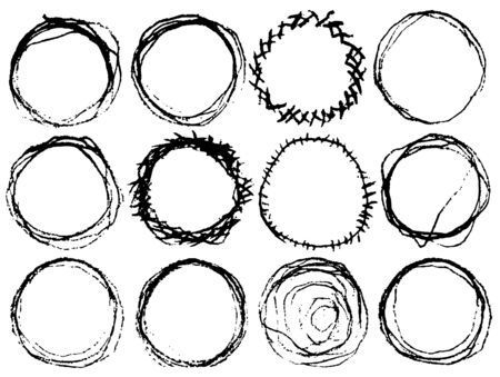 Hand drawn circle line sketch set. Vector circular scribble doodle round frames. Made by pencil or pen. Stock Illustratie