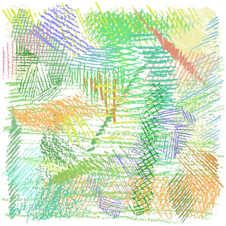 Crayon vector background. Pencil pattern. Hand drawn texture, colorful chalk lines scribbles. Cute childish doodles in pastel colors on white background. Stock Illustratie