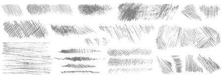 Set of hand drawn pencil strokes. Set of various shapes isolated on white background. Vector illustration.
