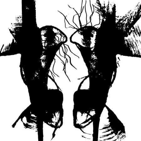 Abstract stained grunge element. Black blots, dry brush, ink. Vector