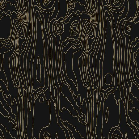 Wood grain black texture. Seamless wooden pattern. Abstract line background. Vector illustration
