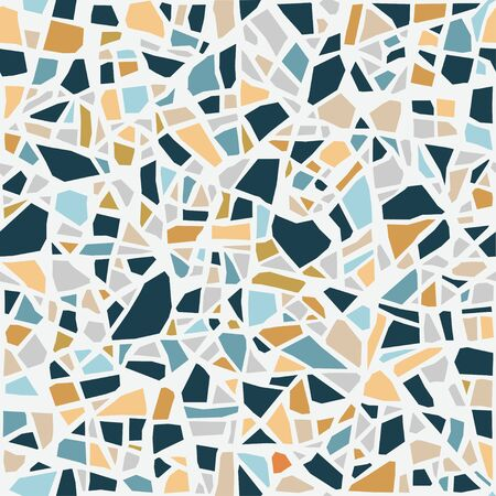 Terrazzo mosaic tile, seamless pattern. Vector pastel abstract background. For design and decorate backdrop. Endless texture. Ceramic fragments. Colorful broken tiles trencadis.