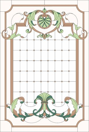 Stained-glass window decoration panel in a rectangular frame, abstract floral arrangement of buds and leaves in the baroque style. Stained glass vector. Ilustrace