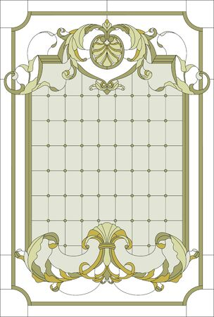 Stained-glass window decoration panel in a rectangular frame. Abstract floral in the baroque style. Stained glass vector. Illusztráció