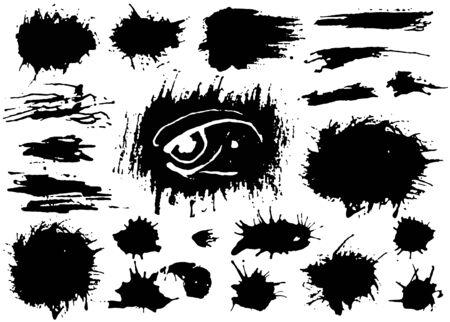 Set di vernice nera, pennellate di inchiostro, pennelli, linee. Elementi di disegno artistico sporchi del grunge. Vettore Vettoriali