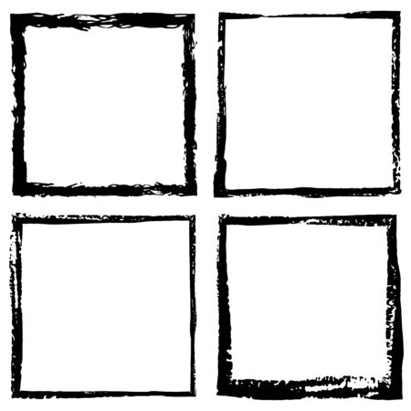 Square vector frame border. Grunge ink illustration. Creative backgrounds template for tags, labels, cards. Hand drawn frame brush strokes.