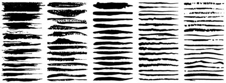 Vector large set of grunge ink brush strokes. Black artistic paint, hand drawn. Dry Brush Stroke elements collection isolated on white background. Ilustrace