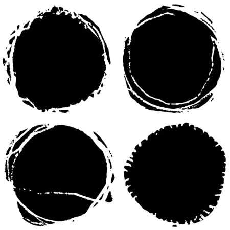 Vector grunge circles. Handmade black round strokes frames. Backgrounds painted by brush.