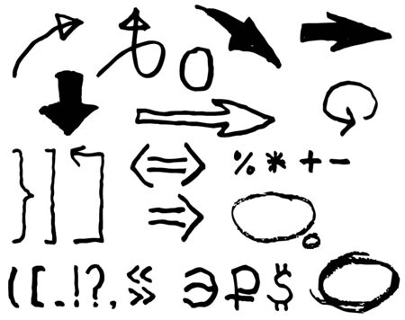 Arrows, punctuation, and symbol of the ruble, dollar, euro. Doodle style, freehand drawing. Vector grunge element