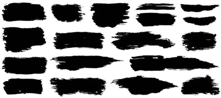 Vector collection of artistic grungy black paint hand made creative brush stroke set isolated on white background. Ilustrace