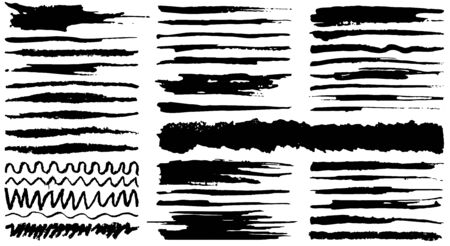 Collection of vector hand drawn various shapes brush strokes. Creative black thin paintbrush lines, isolated on white background. Ilustrace